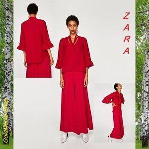 ZARA Elbow Length Sleeve Ruffled w/Bow New Blouse